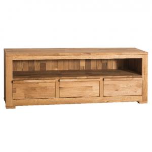 Comoda TV lemn stejar cu 3 sertare0