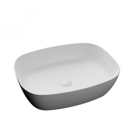 Lavoar baie dreptunghiular pe blat alb mat cu ventil inclus Dalet, Color