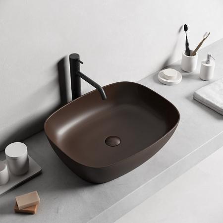 Lavoar baie dreptunghiular pe blat negru lucios cu ventil inclus Dalet, Color [1]