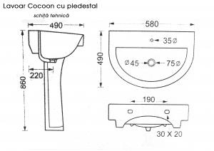 Lavoar baie cu piedestal Cocoon1