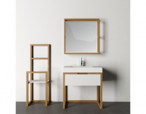 Mobilier baie alb din lemn masiv0