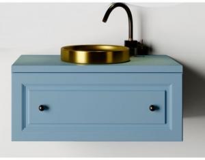 Mobilier baie albastru din lemn masiv tei opac si blat solid surface1