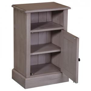 Noptiera dormitor lemn masiv cu o usa si spatiu deschis1