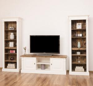 Comoda TV si doua biblioteci etajera din lemn masiv, finisaj dublu vopsit1