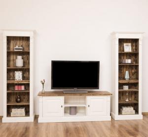 Comoda TV si doua biblioteci etajera din lemn masiv, finisaj dublu vopsit0