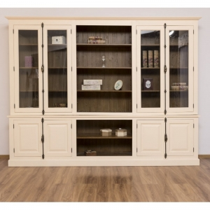 Biblioteca mare cu 4 usi lemn masiv si 4 usi sticla, finisaj dublu vopsit0