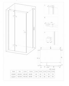 Cabina dus dreptunghiulara cu usa batanta 80 x 100 cm neagra Deante, Arnika4