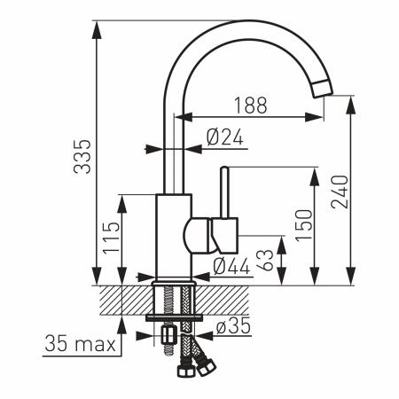 Baterie bucatarie crom tip lebada Ferro Lugio [1]