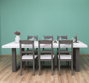 Set masa cu 6 scaune, finisaj dublu vopsit0