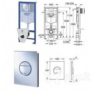 Set rezervor wc incastrat Grohe cu clapeta actionare inclusa1