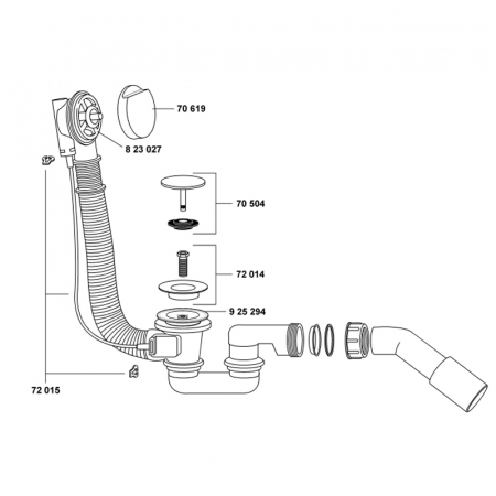 Sistem scurgere cada baie cu sifon Kludi, Rotexa 2000 [2]