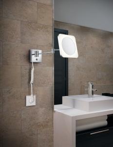 Aplica perete baie culoare crom cu oglinda si lupa [1]