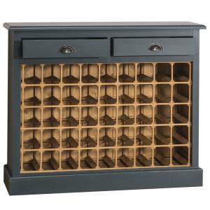 Suport pentru sticle de vin din lemn masiv cu 2 sertare1