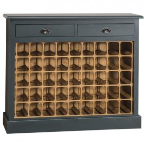 Suport pentru sticle de vin din lemn masiv cu 2 sertare0