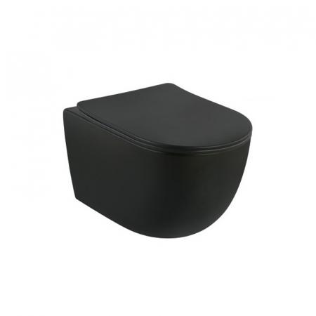 Vas wc suspendat rimless negru cu capac quick release si soft close, Minerva, Fluminia