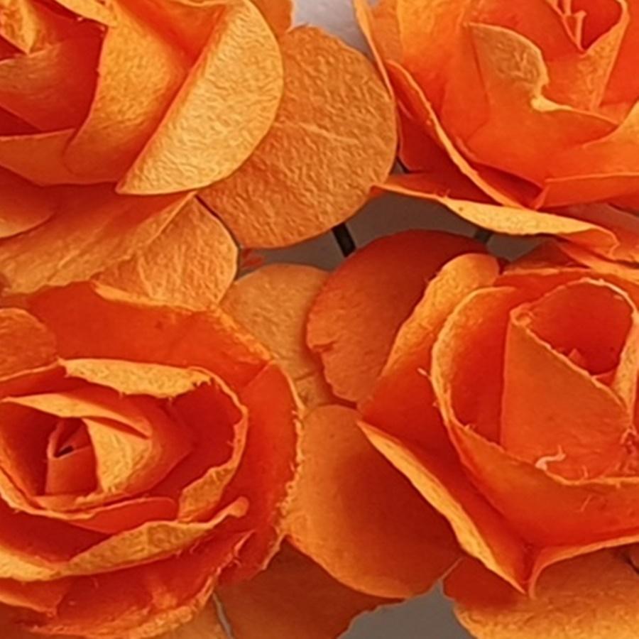 portocaliu - flori hartie