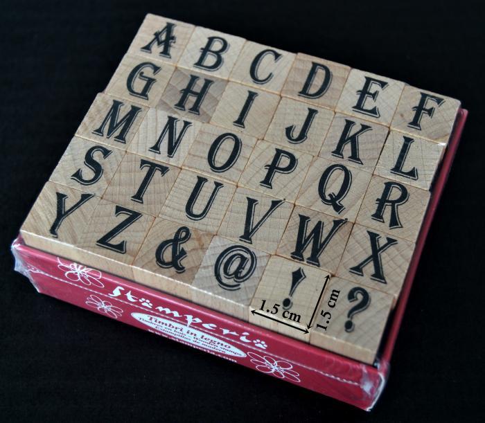 Stampile din silicon pe suport de lemn - alfabet 1.5 x 1.5 cm/buc. 0