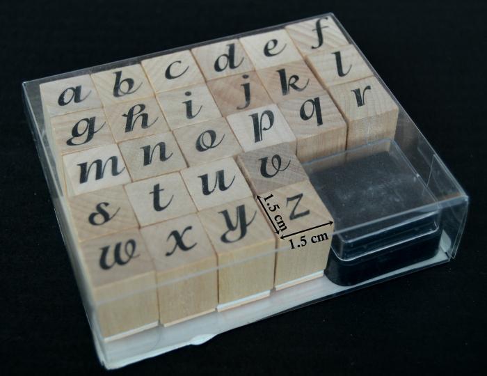 Stampile din silicon pe suport de lemn - alfabet, cu tusiera 1.5 x 1.5 cm/buc. 0