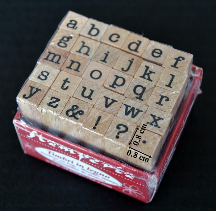 Stampile din silicon pe suport de lemn - alfabet 0.8 x 0.8 cm/buc. 0