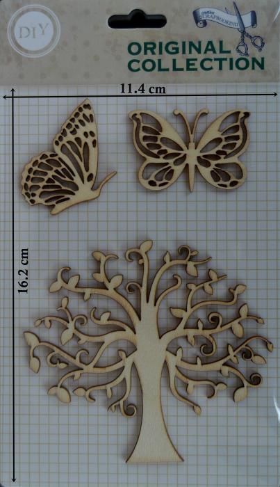 Decoratiune din lemn - copac si fluturi 0