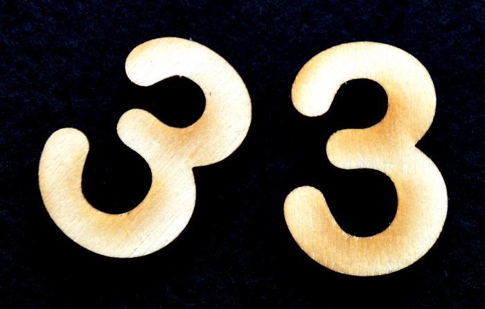 """Cifra din lemn """"3"""""""