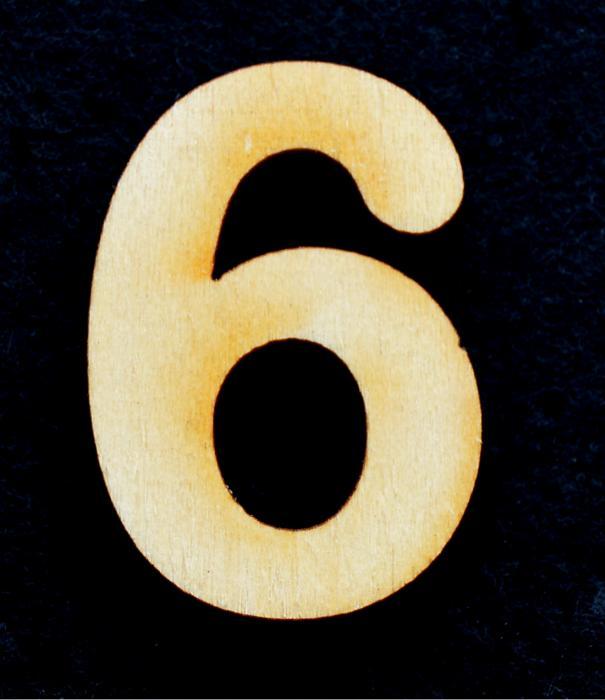 """Cifra din lemn """"6"""""""
