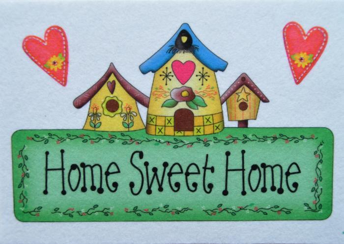 "Fetru imprimat ""Home sweet home"" 14.4 x 20.6 cm 0"