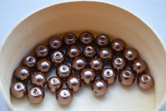 Perle 8 mm (30 buc/set) maro deschis