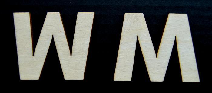 "Litera din lemn ""W"" - 4.5 x 5.4 x 0.4 cm 1"