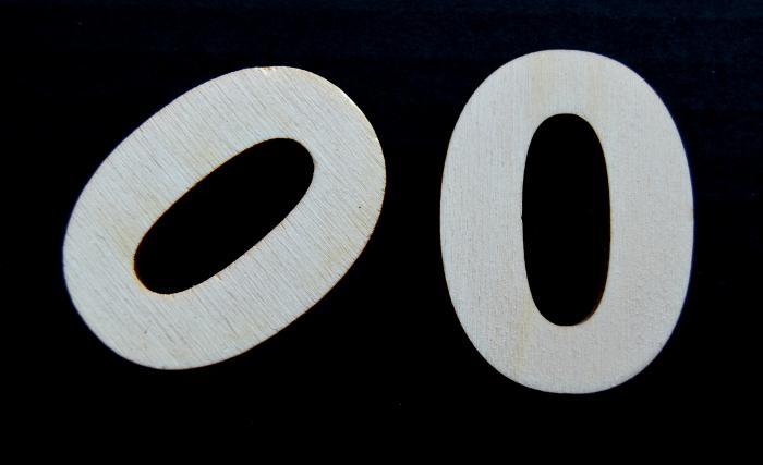 """Cifra din lemn """"0"""""""
