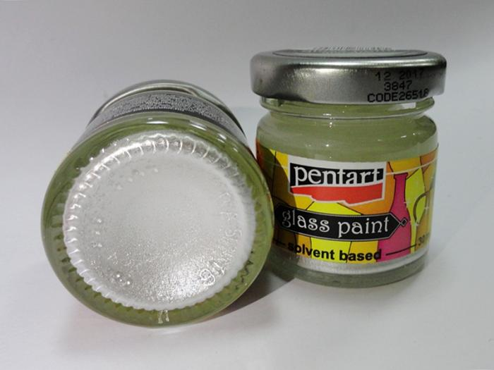 Vopsea sticla alb metalic 30 ml