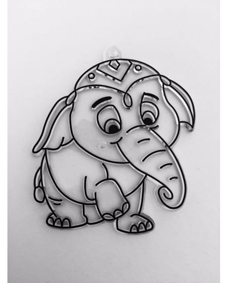 Sablon plastic de colorat, elefant 0