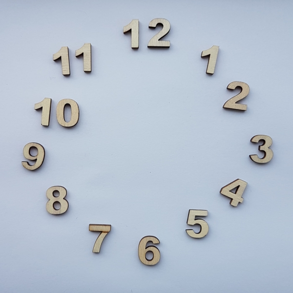 Set cifre arabe din lemn pentru ceas mici 0