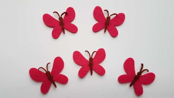 Figurine din fetru, set 5 fluturi roz 0