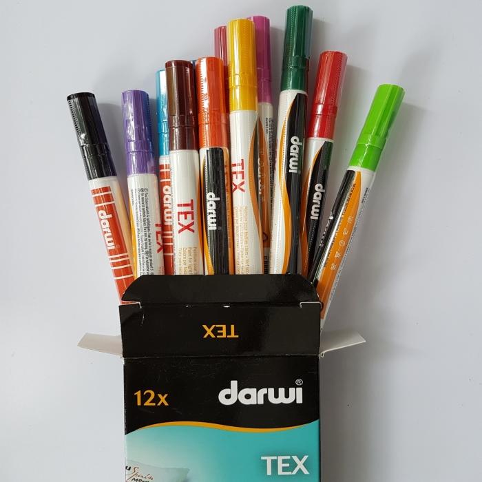 Marker pentru textile DARWI TEX - set 12 culori 1