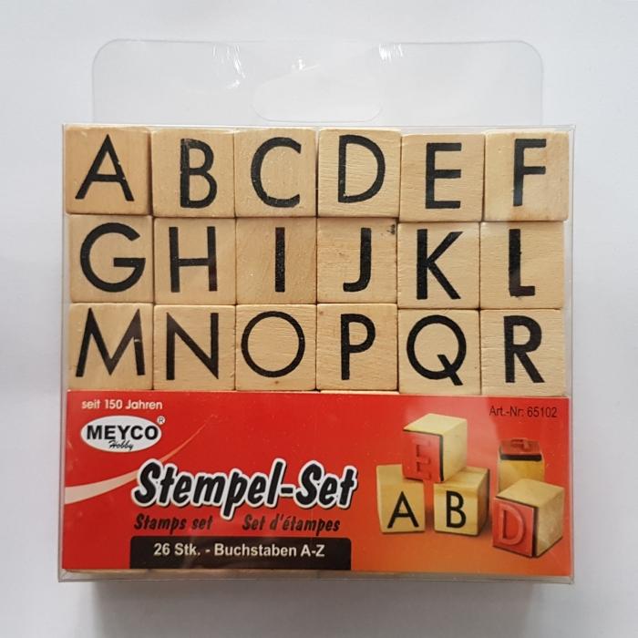 Stampile din cauciuc pe suport de lemn - Alfabet 0