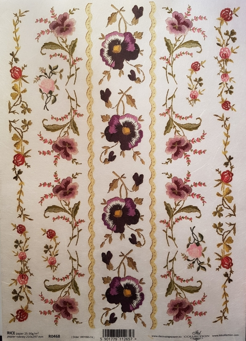 Hartie de orez A4 - Borduri florale 0