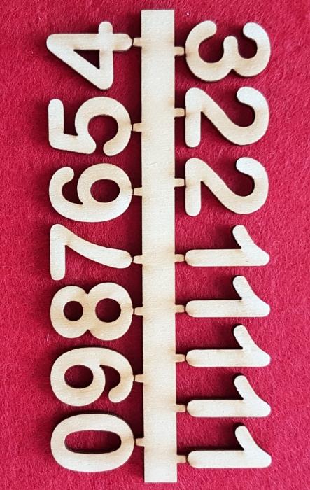 Cifre arabe din lemn pentru ceas 0