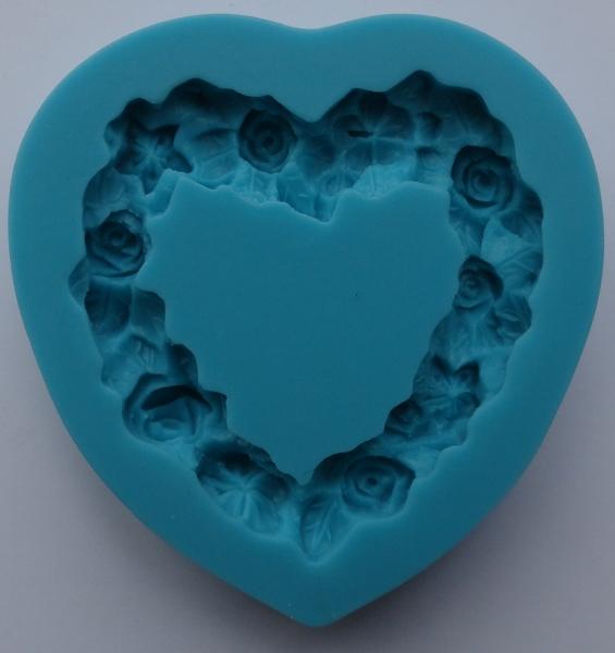 Mulaj din silicon, inima din flori 0