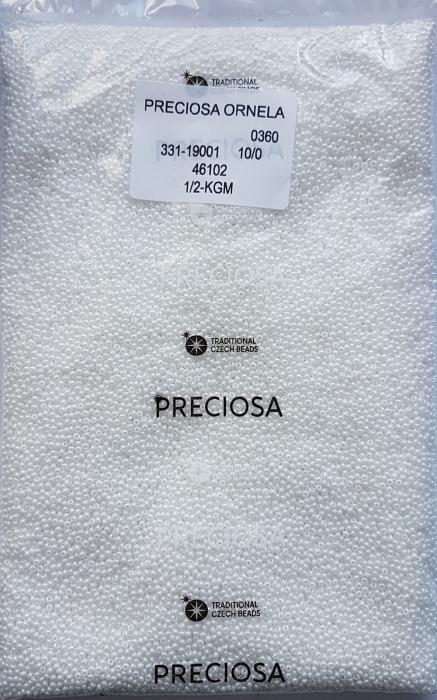 Margele nisip Preciosa Ornela 10/0 - Alb sidefat 46102 1