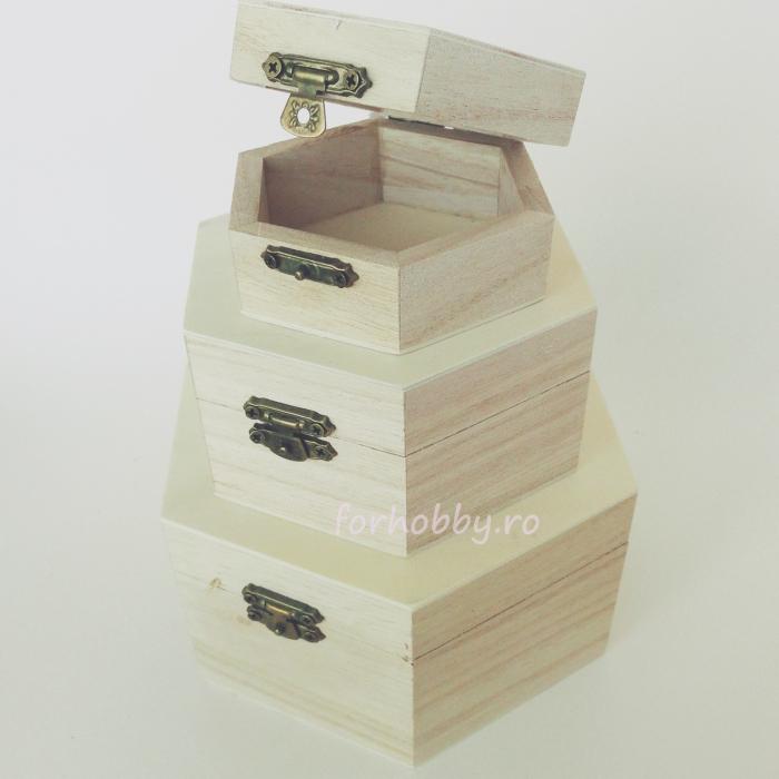 cutii-lemn-hexagonale-diverse-marimi-pentart 1