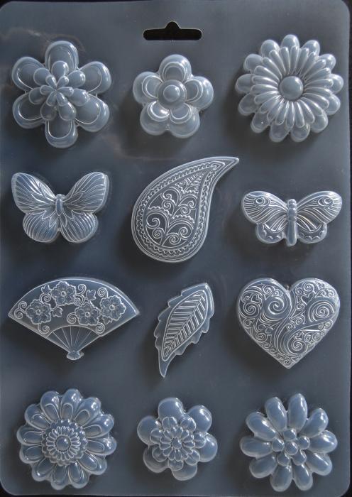Matrita pentru turnat - Flori si fluturi 0