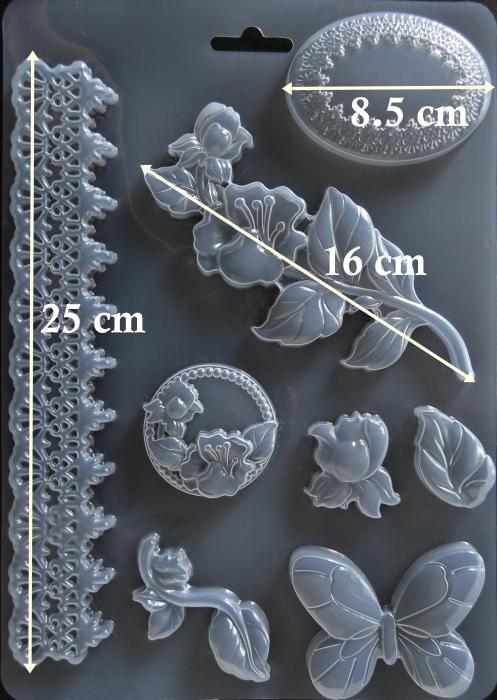 Matrita pentru turnat - Decor plante fluture 1