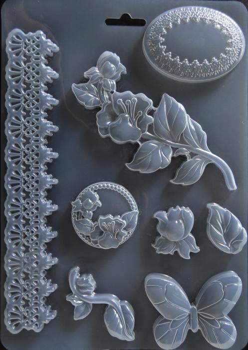 Matrita pentru turnat - Decor plante fluture 0