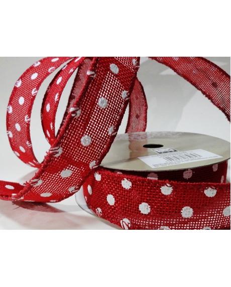 Panglica sac rosu cu buline albe 0
