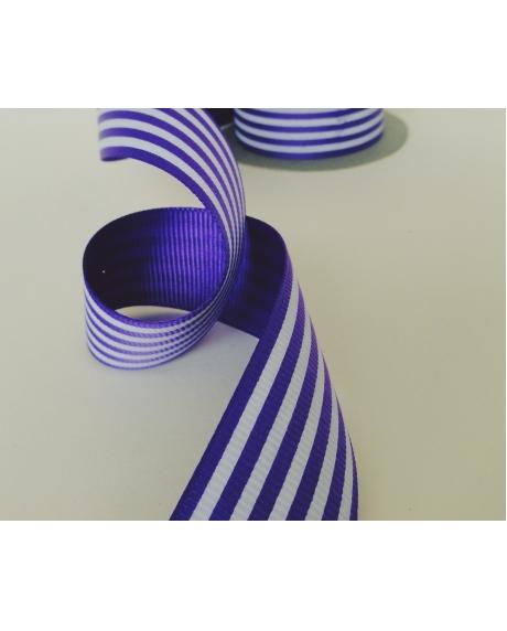 Panglica decor cu dungi violet-albe 0