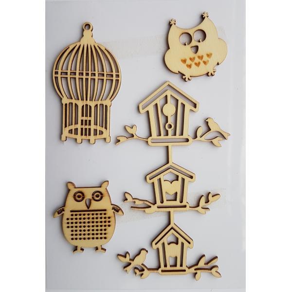 Decoratiune din lemn - bufnite si casute [0]