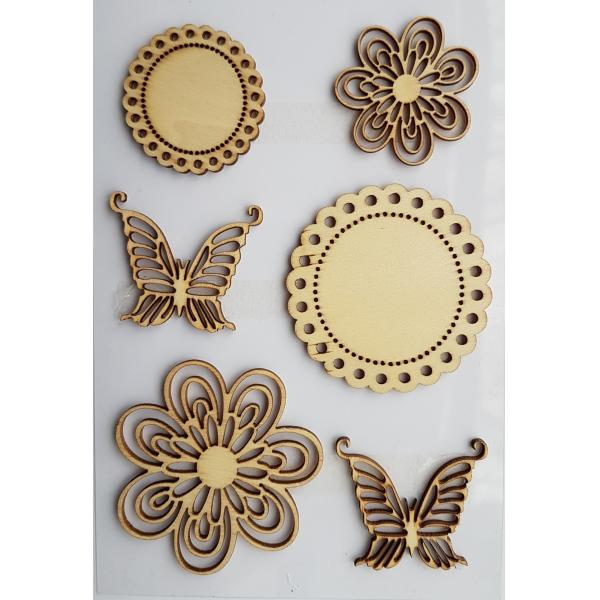 Decoratiune din lemn - flori si fluturi 0
