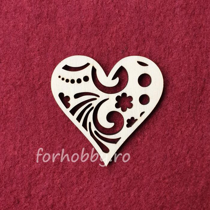Figurina din lemn - Inima decupata 0