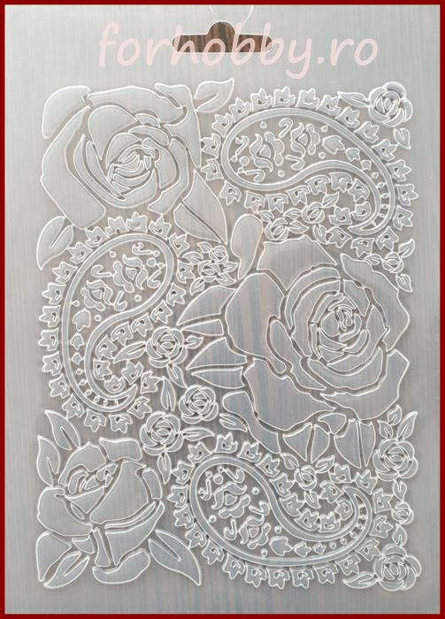Foaie texturata Stamperia - Trandafir 0